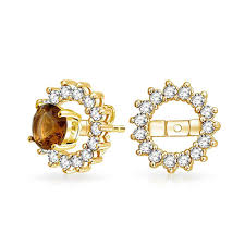 earring jackets for studs gold vermeil april birthstone cz earring jackets for studs