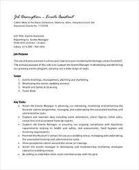 event planner job description sample resume job
