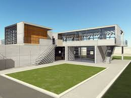 grey modern house cad with large green grass arround can add the