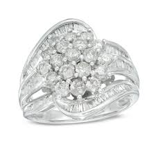cluster rings 2 ct t w diamond cluster ring in 10k white gold diamond rings
