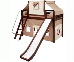 maxtrix mid height loft bed chestnut with slide and curtains bed