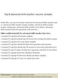 Samples Of Teacher Resumes by Top 8 Advanced Skills Teacher Resume Samples 1 638 Jpg Cb U003d1432822830