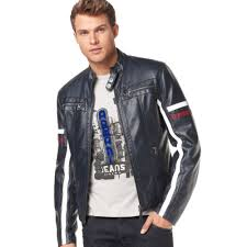mens moto jacket armani jeans eco leather moto jacket in black for men lyst