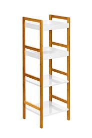 premier housewares bamboo 5 tier shelf unit white amazon co uk