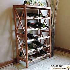 amazon com lavish home classic rustic wood 25 bottle wine rack