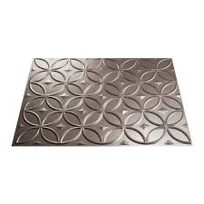 Fasade Backsplash Panels Reviews by Shop Fasade 18 5 In X 24 5 In Brushed Nickel Thermoplastic