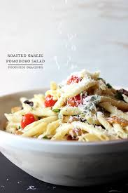roasted garlic pomodoro pasta salad with a dijon mustard dressing