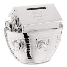 personalized silver piggy bank personalized piggy banks at things remembered