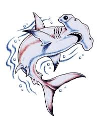nice hammerhead shark swimming tattoo stencil