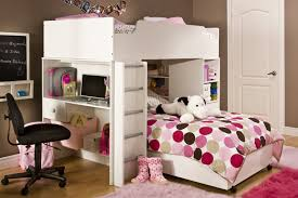 Loft Beds For Teenagers Bedroom Funny Loft Bed For Teens With Desk Plus Spotted Bed Linen