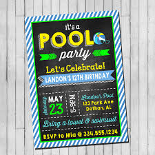 Invitation Card For Pool Party Pool Party Birthday Invitation Boy Teen Pool Party Beach