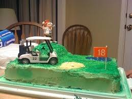 golf birthday cake an sports cake food decoration on cut out