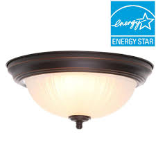 Commercial Electric Led Ceiling Light Commercial Electric 11 In 100 Watt Equivalent Rubbed Bronze