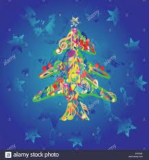 musical christmas tree background vector illustration stock