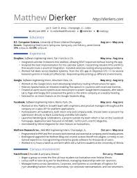 Best Resume Format For Experienced Software Engineers by Real Software Engineering Internship Resume Template Career