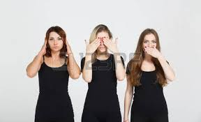 Blind And Deaf Woman Three Young Woman In Black Clothes Isolated At White Background