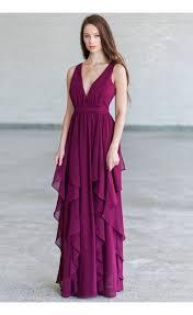 plum purple ruffle maxi bridesmaid dress plum purple prom dress