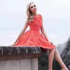 orange short homecoming dress lace flower homecoming dress cheap