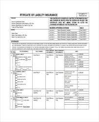 certificate of liability insurance template template design
