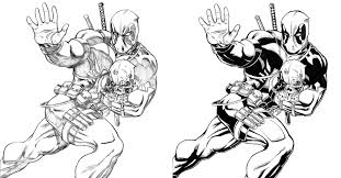 inking comparison deadpool by bright raven on deviantart