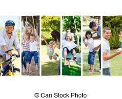 stock photo of collage of a family spending time together at home