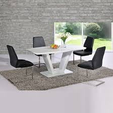 Ventura V Shaped White Dining Table And 6 Chairs 20264