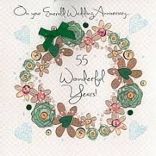55th wedding anniversary handmade emerald wedding anniversary card karenza paperie