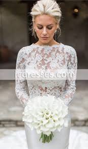 2017 chic two pieces mermaid wedding dresses long sleeves lace