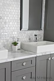 Black Bathroom Vanity With White Marble Top by A Marble Inspired Ensuite Bathroom Budget Friendly Too Gray