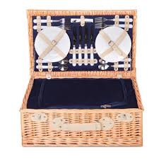 Picnic Basket Set For 4 4 Person Picnic Basket Set With Cooler Bag Blanket Navy