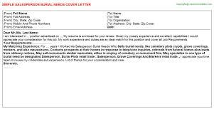 job covering letter samples salesperson burial needs cover letter