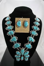 turquoise necklace earring set images Guy hoskie high grade kingman spiderweb turquoise squash blossom jpg