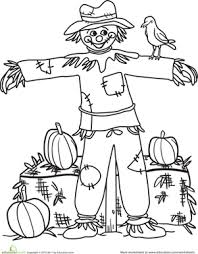 color happy scarecrow worksheet education