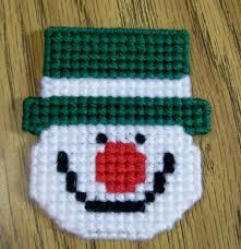 plastic canvas christmas snowman magnet fridge needlecraft