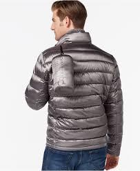 calvin klein men s packable down jacket in gray for men lyst