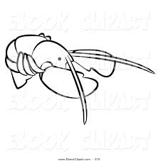 vector clip art of a black and white animal factor lobster on