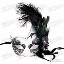 black masquerade masks for women ostrich feather venetian masquerade mask for women m6131 black