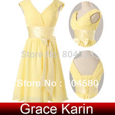stock deep v neck chiffon cocktail party dress yellow masquerade