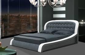 white u0026 black leatherette modern bed w button tufted headboard