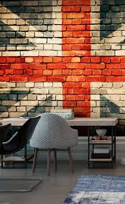 18 best brick effect wallpaper images on pinterest photo create the ultimate brick feature wall with this union jack brick wall mural transform offices