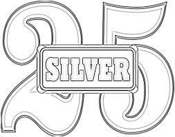 anniversary 25 silver wedding coloring free printable