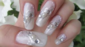 silver u0026 white bridal design with half pearls and rhinestones nail