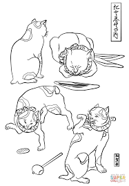 four cats in different poses by utagawa kuniyoshi coloring page