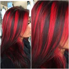 black hair with fire engine red highlights highlights in black
