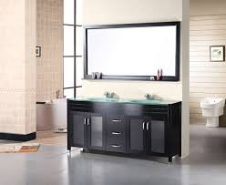 Double Sink Vanity Top 61 Design Element Waterfall Double Drop In Integrated Tempered Glass