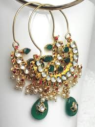 pachi earrings chand bali pachi kundan work indianchowk