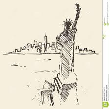 sketch new york city skyline statue liberty drawn stock vector