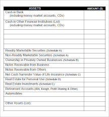 Personal Financial Statement Excel Template Sle Personal Financial Statement 7 Documents In Word Pdf
