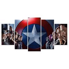 Captain America Decor 5 Panel Hd Printed Captain America Civil War Poster Canvas Living