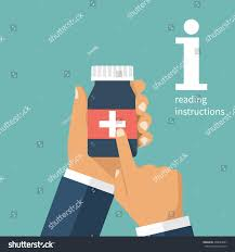 man holding bottle pills hand read stock vector 490024807